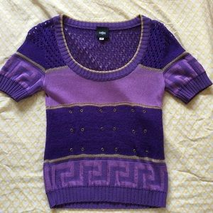 Purple Versace couture short sleeve sweater